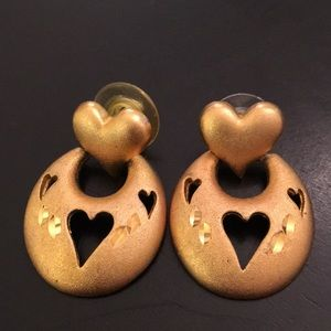 Gold vintage pierced heart door knocker earrings
